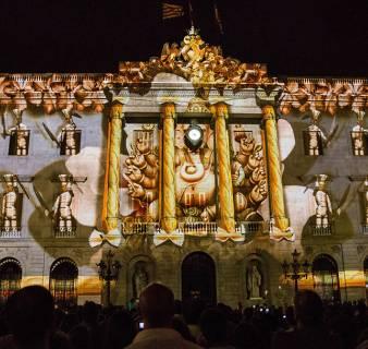 BCN light projection on Barcelona City Hall