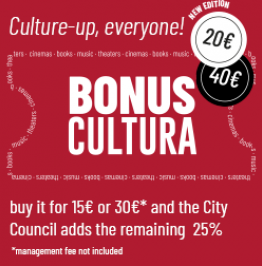 Campaign banner with the text: Culture-up, everyone! 20€. 40€ Bonus cultura. Buy it for 15€* and the City Council adds the remaining 25%€. *1€ management fee is not included. *Management fee not included