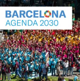 Cartell de campanya amb el text Barcelona Agenda 2030