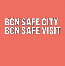 Banner with the text: BCN Safe City​ BCN Safe Visit​
