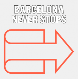 Campaign banner with the text: Barcelona never stops