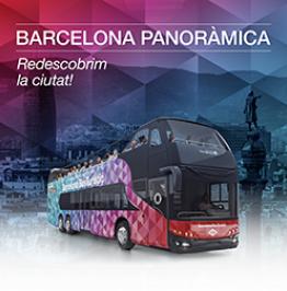 Cartell amb el text: Barcelona Panoràmica. Redescrobrim la ciutat!