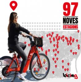 Cartell de campanya amb el text: 97 noves estacions. Bicing