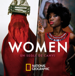 Campaign banner with the text, in Catalan: Women, a century of change. National Geographic