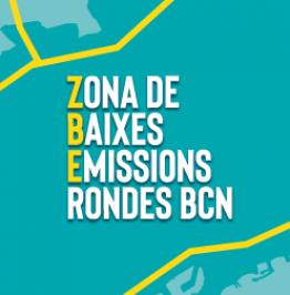 Cartell de campanya amb el text: Zona de Baixes Emissions Rondes BCN