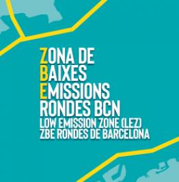 Campaign banner: Zona de Baixes Emissions Rondes BCN. Low Emission Zone (LEZ). ZBE Rondes de Barcelona