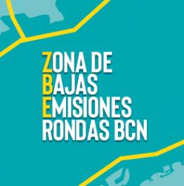 Cartel de campaña con el texto: Zona de Bajas Emisiones Rondas BCN