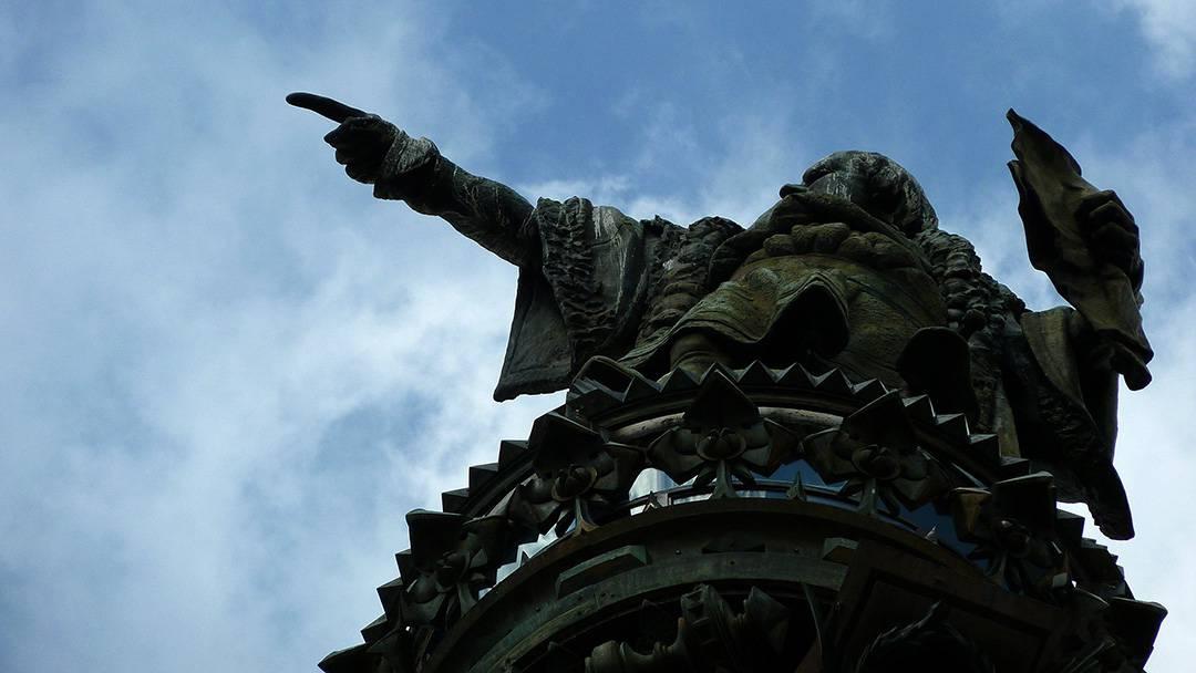 Statue du Mirador de Colom de Barcelone
