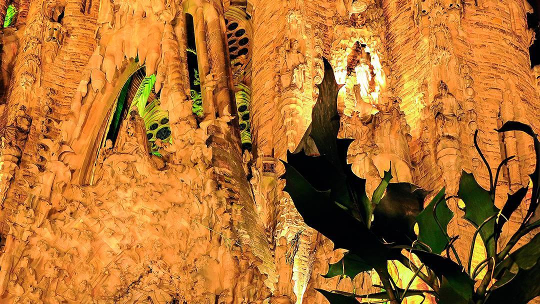 Façade of the Sagrada Família lit up