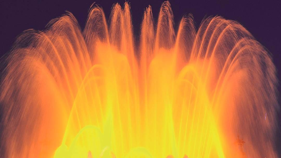 La Fontaine magique éclairée