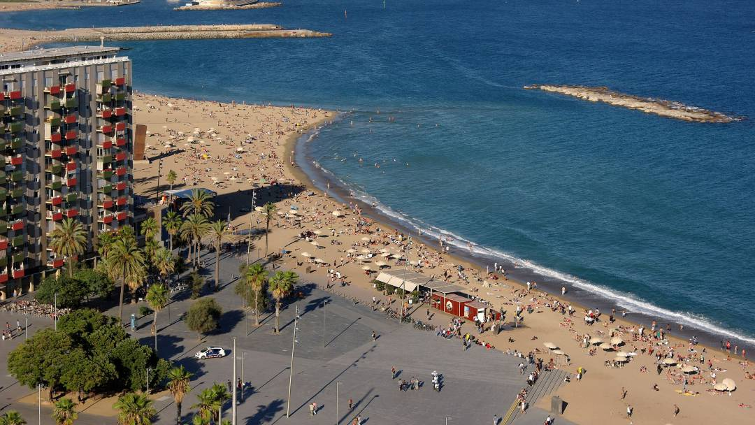 Aerial view of Sant Sebastià Beach