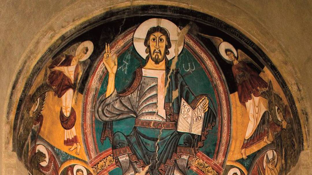 Christ Pantocrator on display at the MNAC