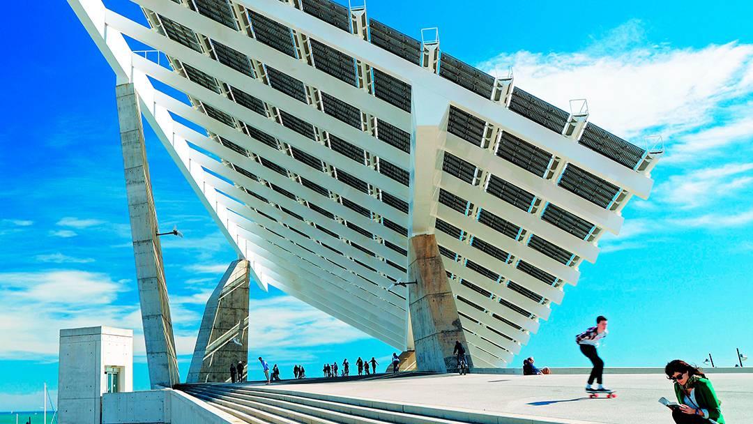 La plaque photovoltaïque du parc du Forum