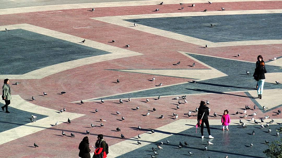 Vista aérea de la plaza de Catalunya