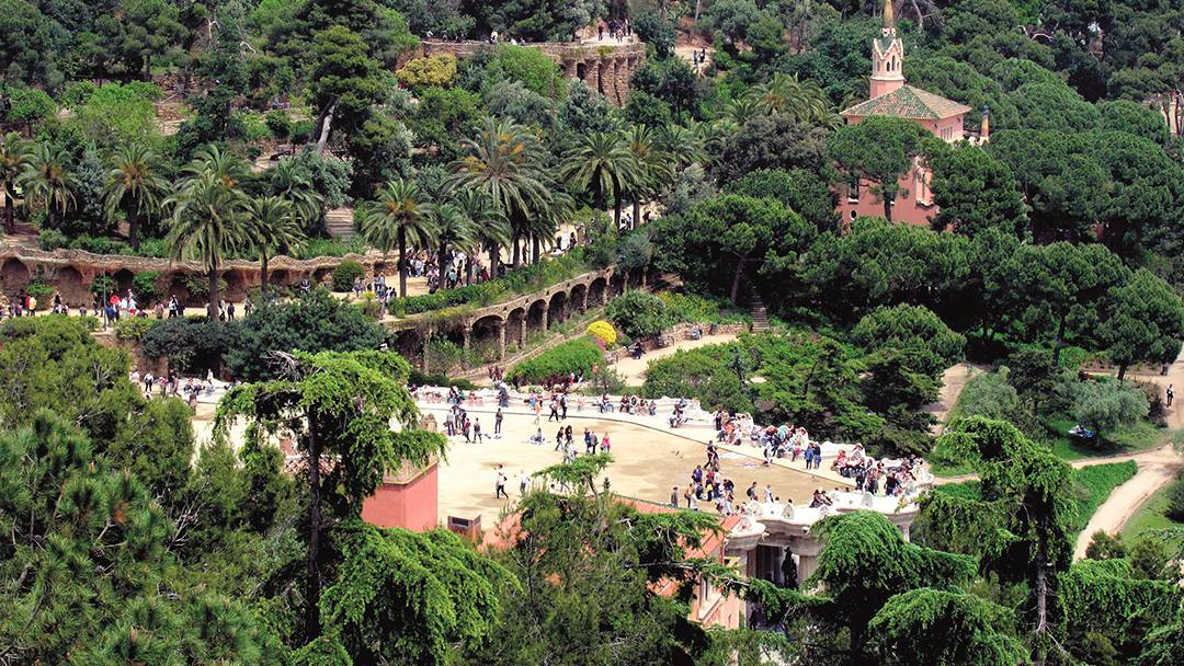 Aerial view of Park Güell