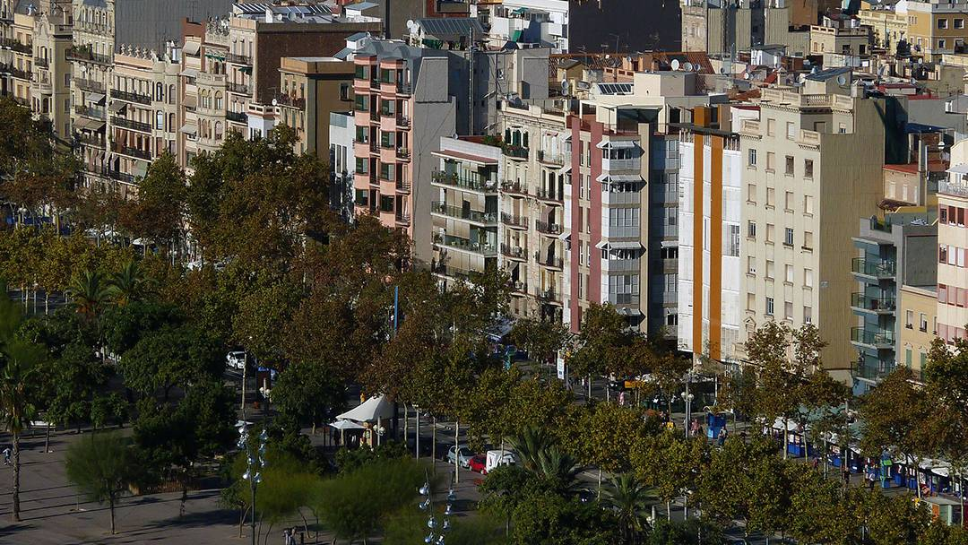 Aerial view of Barceloneta