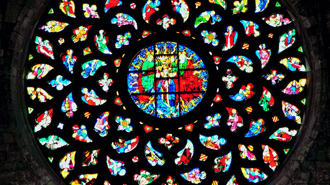 Stained glass windows in Santa Maria del Mar