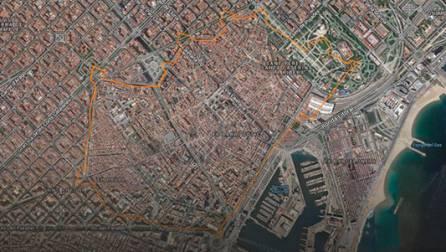 Trazado del perímetro de la muralla medieval de Barcelona