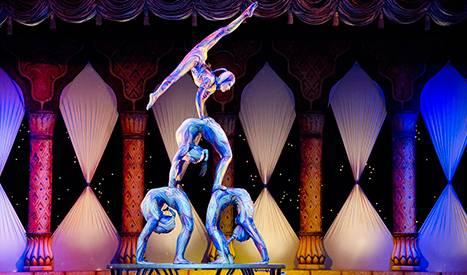 Professionals del circ realitzant una figura humana