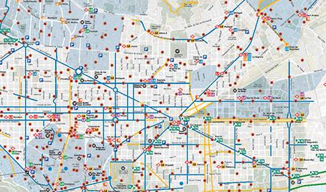 Mapa de la red de carriles bici de BCN