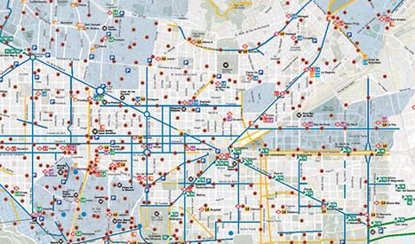 Mapa de la xarxa de carrils bici de BCN