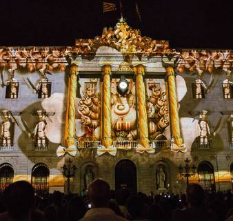 BCN light projection on Barcelona City Hall