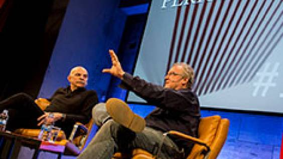 Martín Caparrós and Jon Lee Anderson at the CCCB