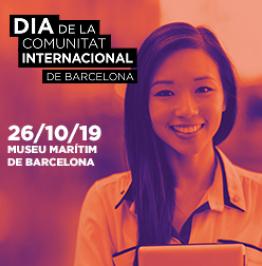 Cartell amb el text: Dia de la comunitat internacional de Barcelona. 26/10/19. Museu Marítim de Barcelona.