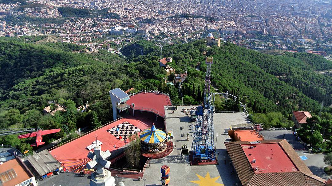 Aerial view of Tibidabo Amusement Park