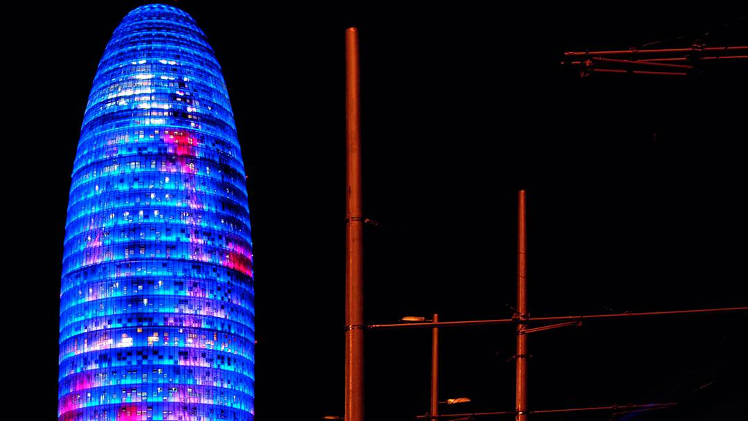 Torre Agbar lit up
