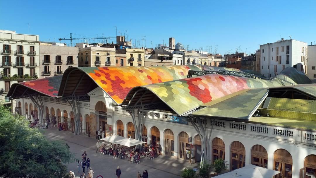 Vue aérienne du marché de Santa Caterina
