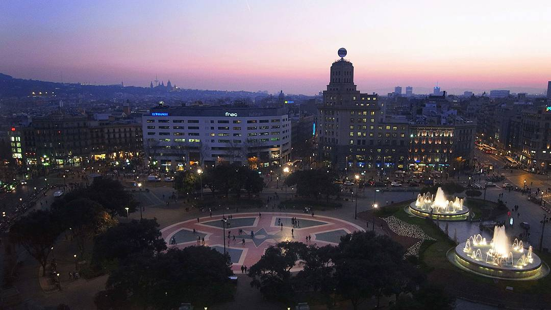 Aerial view of Plaça de Catalunya and its fountains