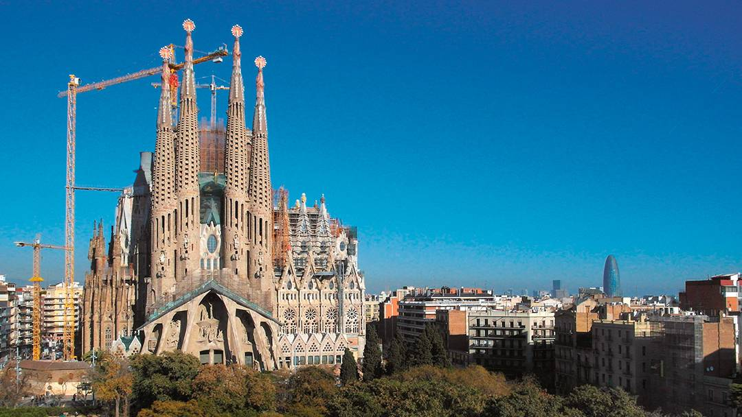 Vue de la façade de la Passion de la Sagrada Família