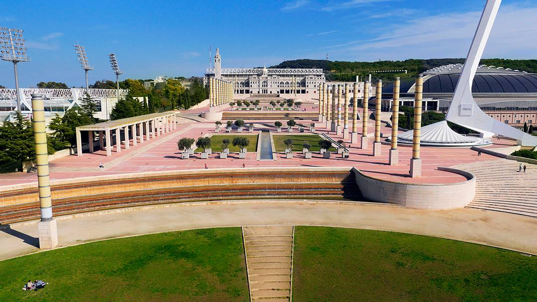 La zona de la Anilla Olímpica, en Montjuïc