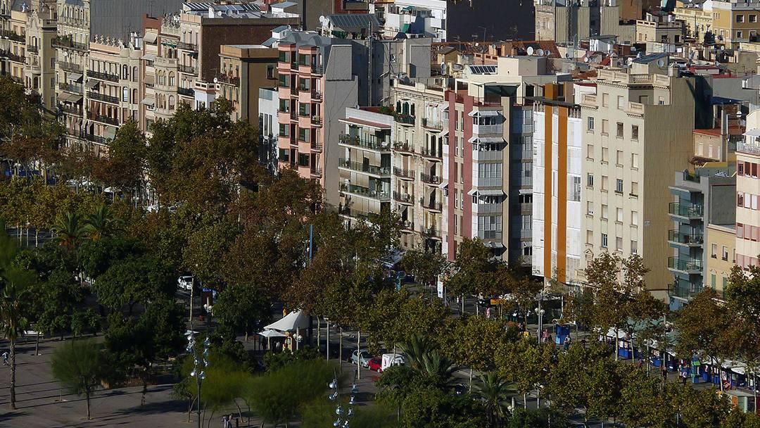 Vue aérienne de la Barceloneta