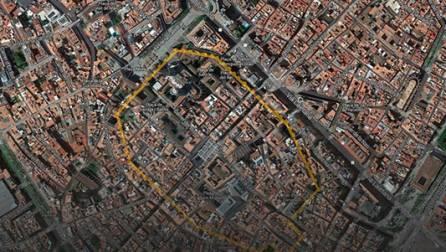 Tracé du périmètre de la muraille romaine de Barcelone