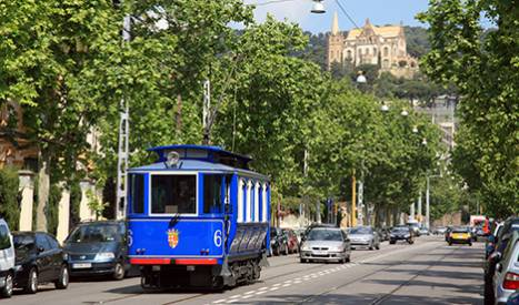 Le Tramway bleu sur l'avenue del Tibidabo